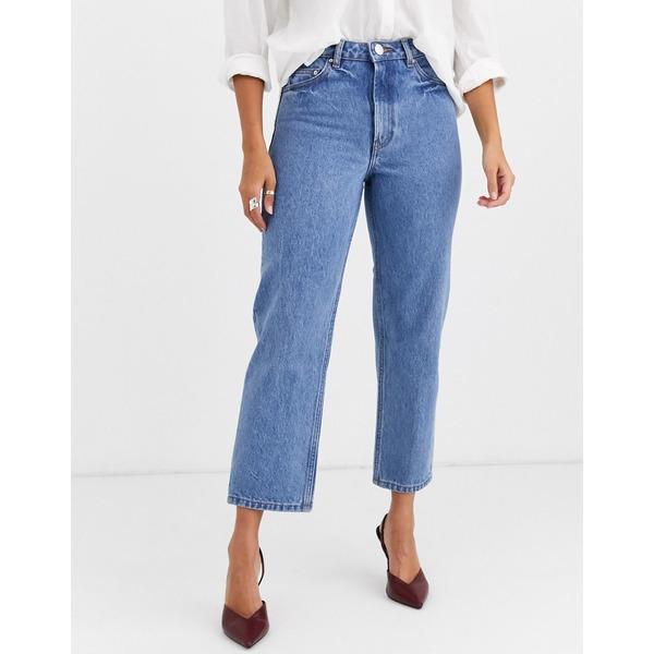 エイソス レディース デニムパンツ ボトムス ASOS DESIGN Recycled Florence authentic straight leg jeans in pretty mid stonewash blue Pretty mid wash