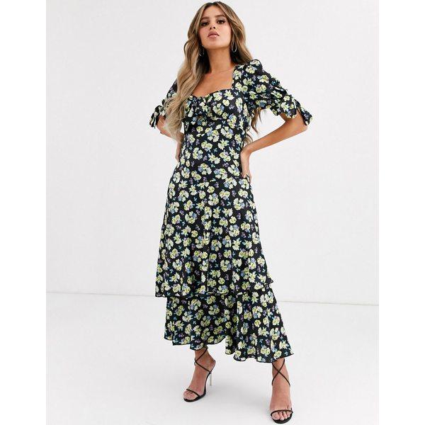 エイソス レディース ワンピース トップス ASOS DESIGN grunge floral maxi tea dress with tie front Black base floral