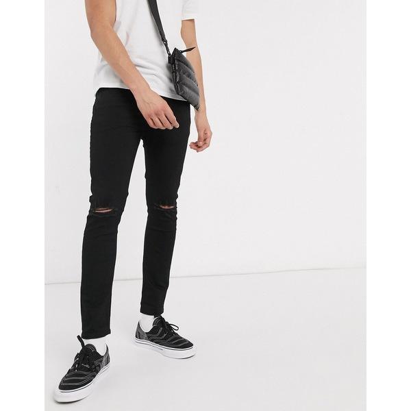 エイソス メンズ デニムパンツ ボトムス ASOS DESIGN cropped super skinny jeans in black wash with rips Washed black