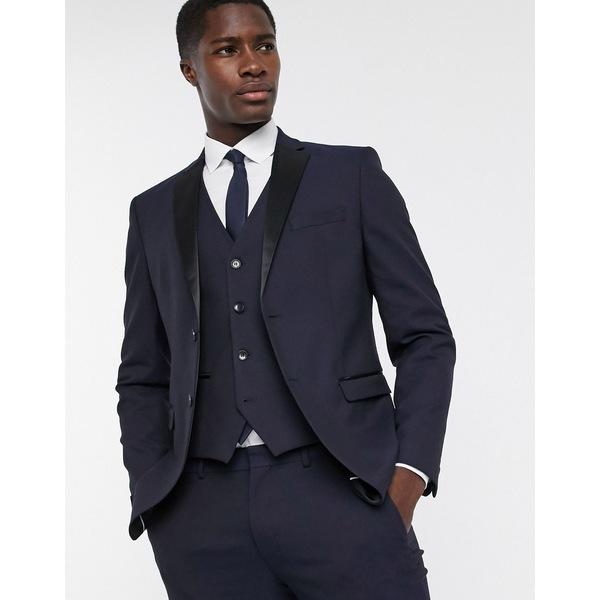 セレクテッドオム メンズ ジャケット&ブルゾン アウター Selected Homme slim fit tuxedo satin lapel suit jacket in navy Dark navy