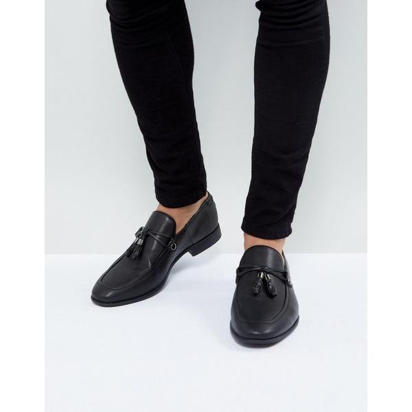 エイソス メンズ スリッポン・ローファー シューズ ASOS DESIGN loafers in black faux leather with tassel detail Black