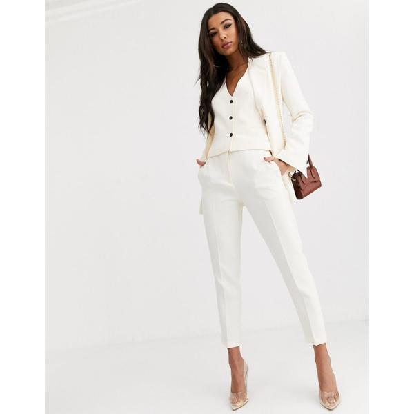 エイソス レディース カジュアルパンツ ボトムス ASOS DESIGN pop slim suit pants in ivory Ivory