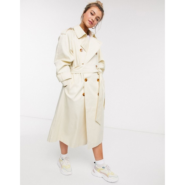 エイソス レディース コート アウター ASOS DESIGN longline trench coat with statement buttons in cream Cream