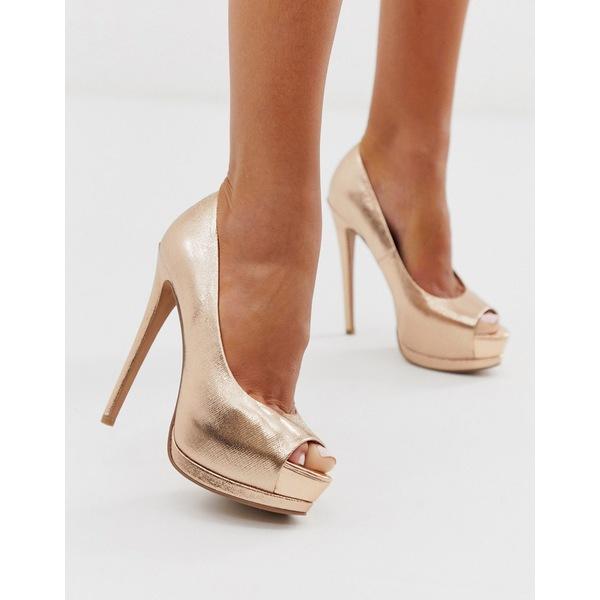 エイソス レディース ヒール シューズ ASOS DESIGN Playful platform high heels in rose gold Rose gold