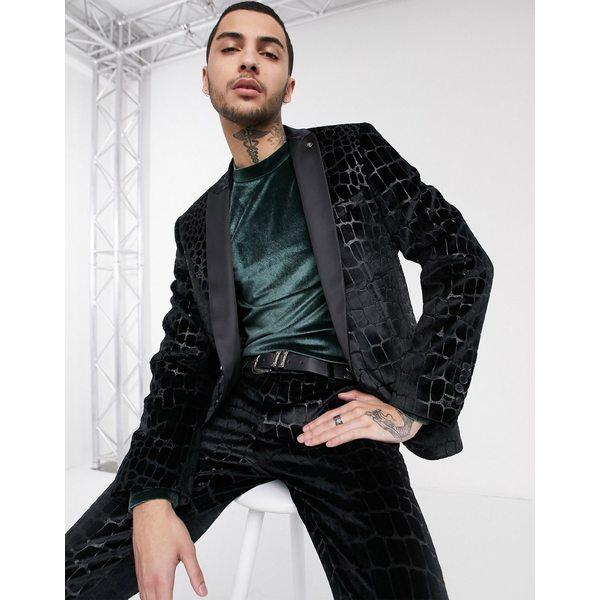 ツイステッドテイラー メンズ ジャケット&ブルゾン アウター Twisted Tailor suit jacket with flock croc print in black Black