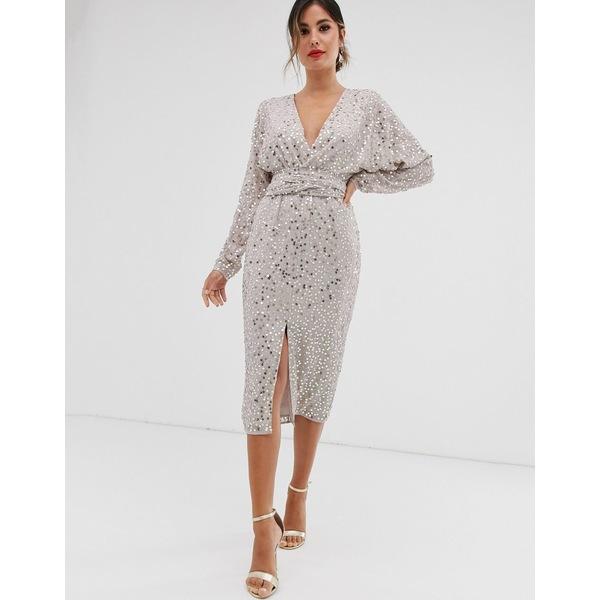 エイソス レディース ワンピース トップス ASOS DESIGN midi dress with batwing sleeve and wrap waist in scatter sequin Pale gold