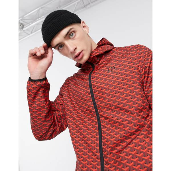 クリミナルダメージ メンズ ジャケット&ブルゾン アウター Criminal Damage nylon tracksuit jacket in red pattern Red
