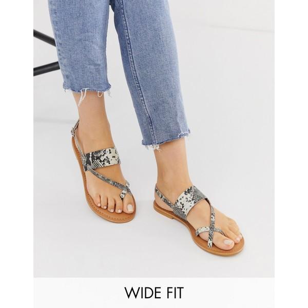 エイソス レディース サンダル シューズ ASOS DESIGN Wide Fit Flisse leather flat sandals Snake