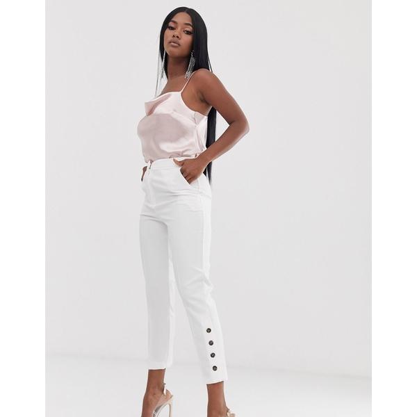 エイソス レディース カジュアルパンツ ボトムス ASOS DESIGN slim pants with ankle button detail White