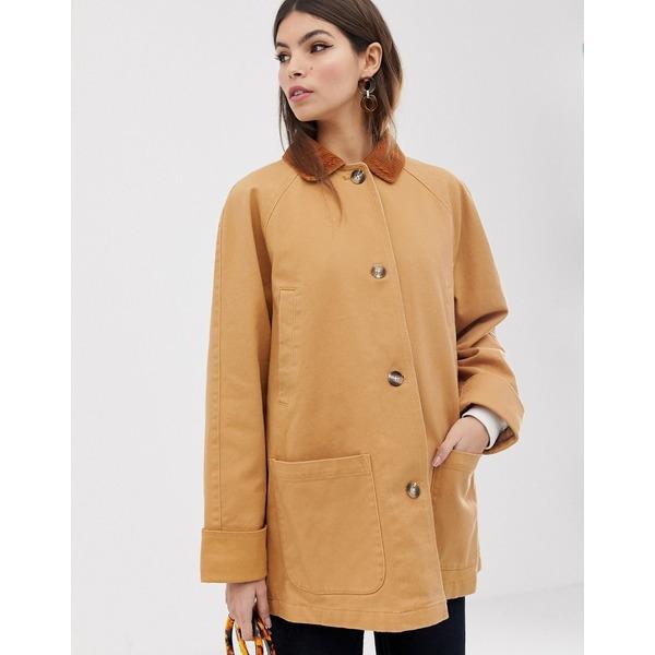 エイソス レディース コート アウター ASOS DESIGN button through jacket with cord detail Brown