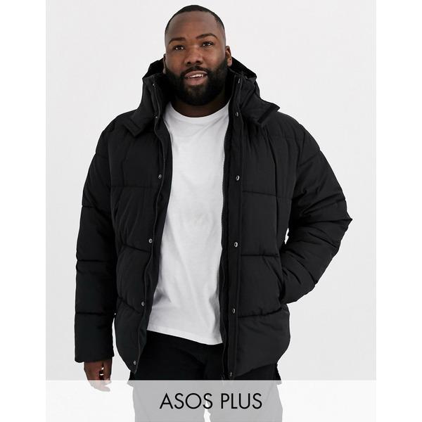 エイソス メンズ ジャケット&ブルゾン アウター ASOS DESIGN Plus sustainable puffer jacket with hood in black Black
