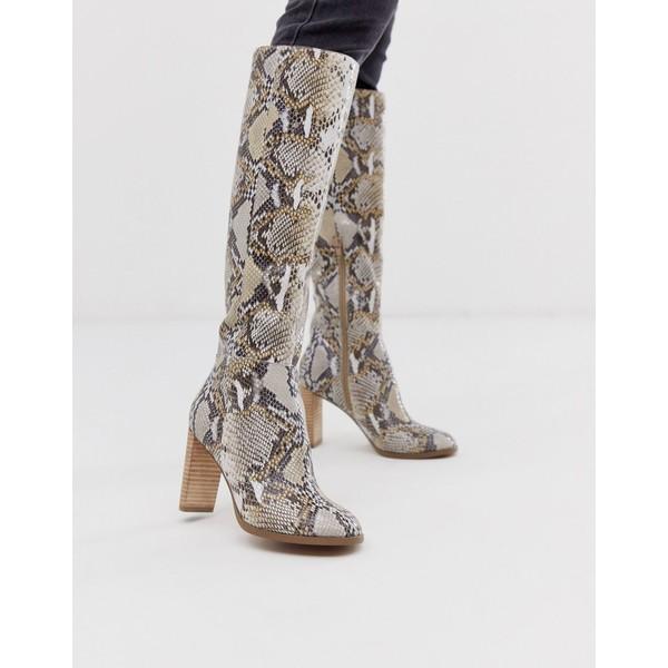 エイソス レディース ブーツ&レインブーツ シューズ ASOS DESIGN Clover premium leather knee high boots in snake Snake leather