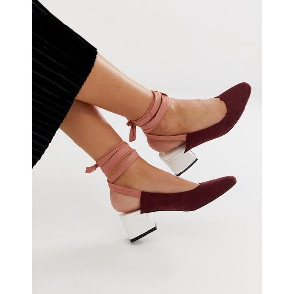 エイソス レディース ヒール シューズ ASOS DESIGN Steps tie leg mid heels Burgundy/beige/white