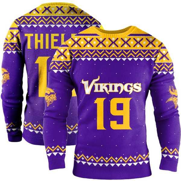 フォコ メンズ シャツ トップス Adam Thielen Minnesota Vikings Name & Number Crewneck Sweater Purple