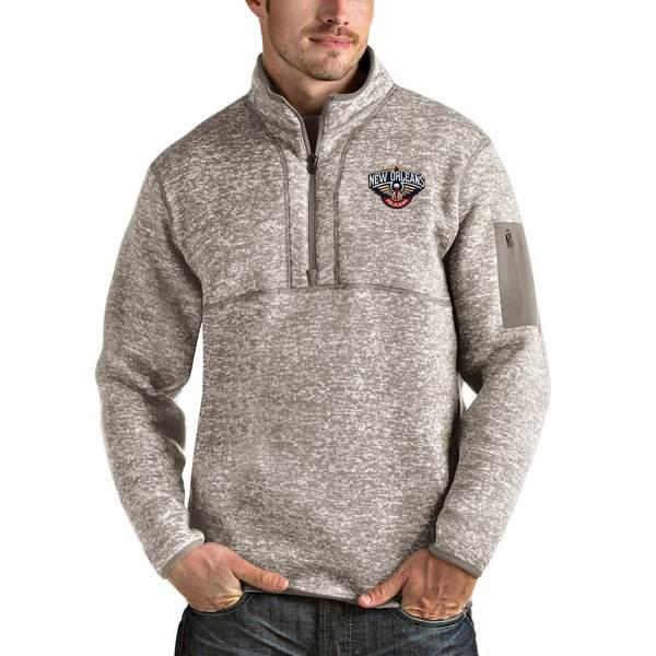 アンティグア メンズ ジャケット&ブルゾン アウター New Orleans Pelicans Antigua Fortune Quarter-Zip Pullover Jacket Natural