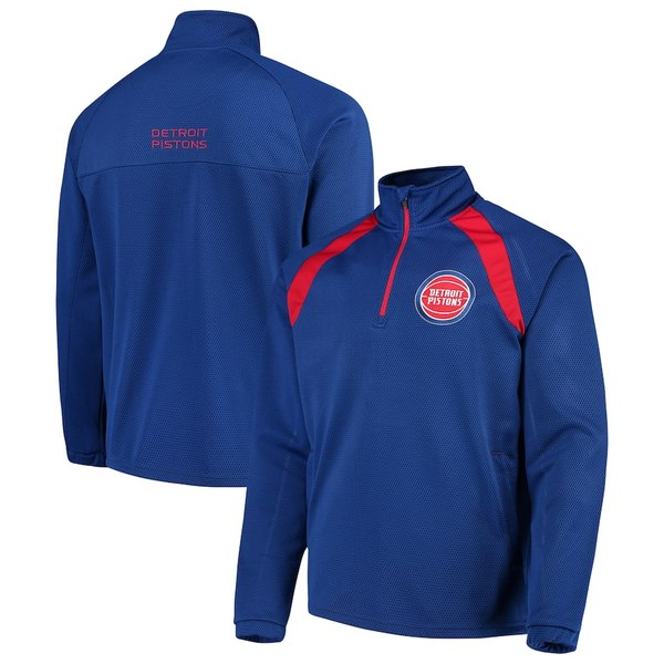 カールバンクス メンズ ジャケット&ブルゾン アウター Detroit Pistons G-III Sports by Carl Banks High Impact Quarter-Zip Pullover Jacket Royal