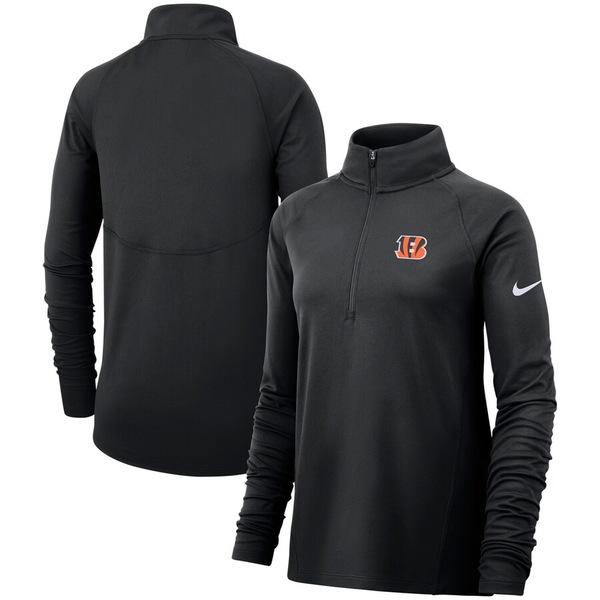 ナイキ レディース ジャケット&ブルゾン アウター Cincinnati Bengals Nike Women's Raglan Performance Half-Zip Core Jacket Black