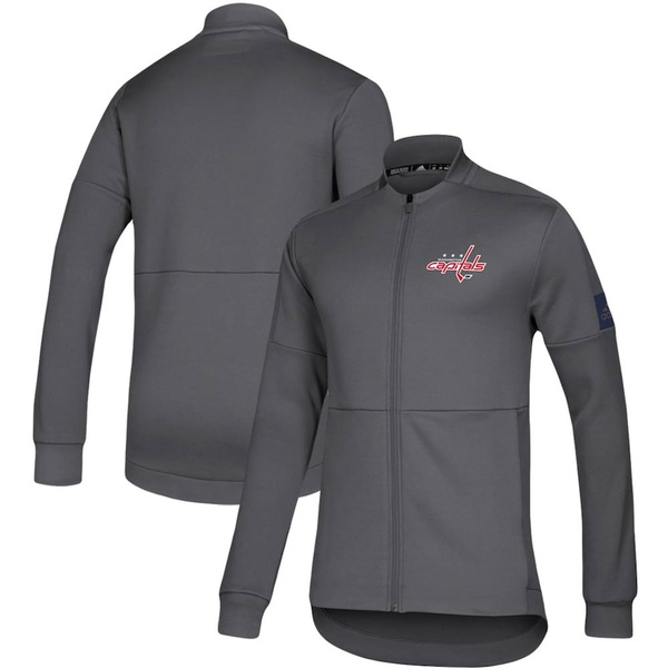 アディダス メンズ ジャケット&ブルゾン アウター Washington Capitals adidas Game Mode Full-Zip Bomber Jacket Gray