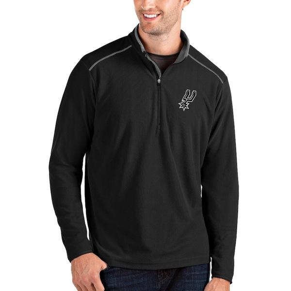 アンティグア メンズ ジャケット&ブルゾン アウター San Antonio Spurs Antigua Big & Tall Glacier Quarter-Zip Pullover Jacket Black/Gray