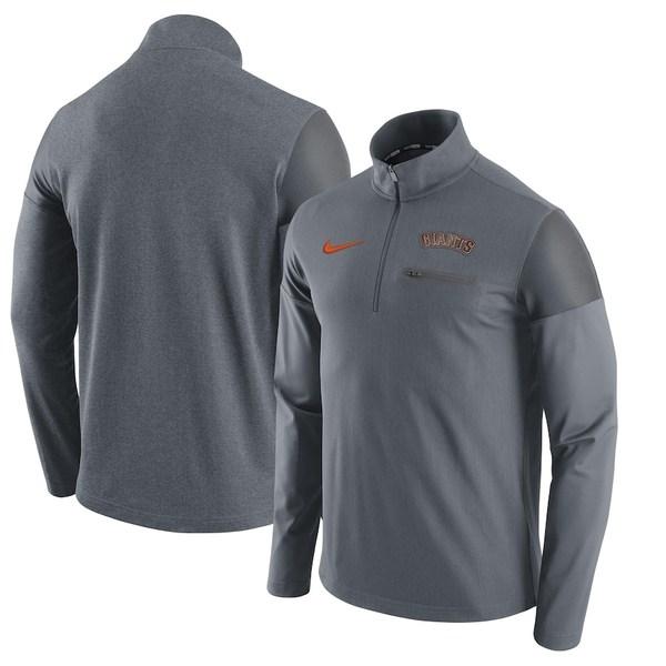 ナイキ メンズ ジャケット&ブルゾン アウター San Francisco Giants Nike Elite Half-Zip Pullover Jacket Gray