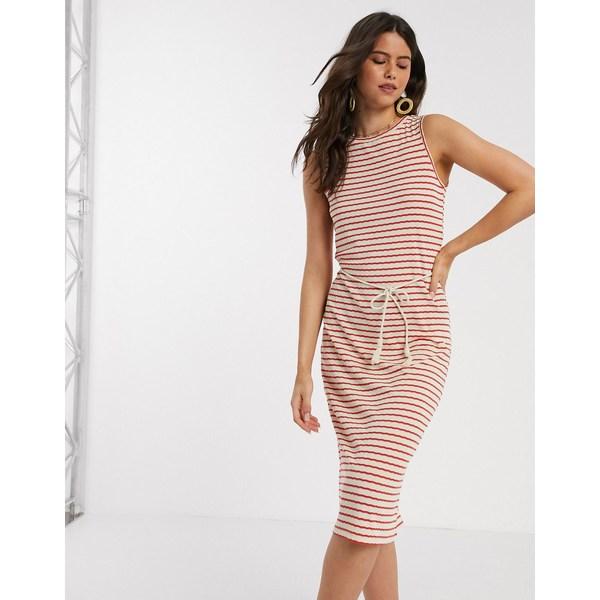 ヴェロモーダ レディース ワンピース トップス Vero Moda midi dress with rope belt in red and white stripe Red stripe