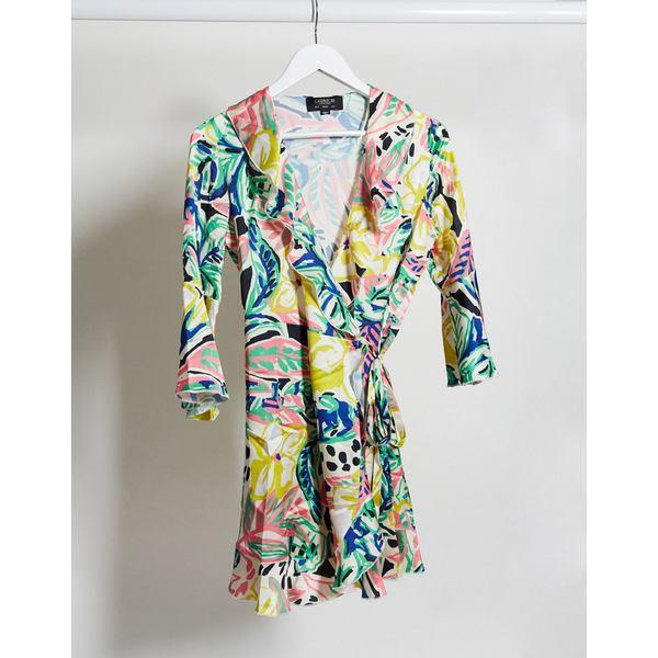 アウトレイジフォーチュン レディース ワンピース トップス Outrageous Fortune ruffle wrap dress in summer floral print Multi