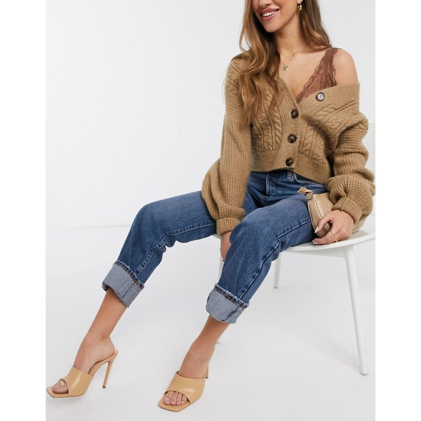 リバーアイランド レディース デニムパンツ ボトムス River Island super high rise straight leg jeans in mid auth blue Mid auth