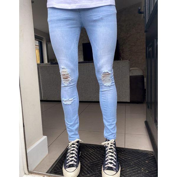 グッドフォーナッシング メンズ デニムパンツ ボトムス Good For Nothing ripped skinny jeans in light acid wash Blue