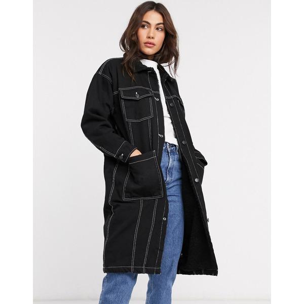 モンキ レディース コート アウター Monki denim worker longline coat Black