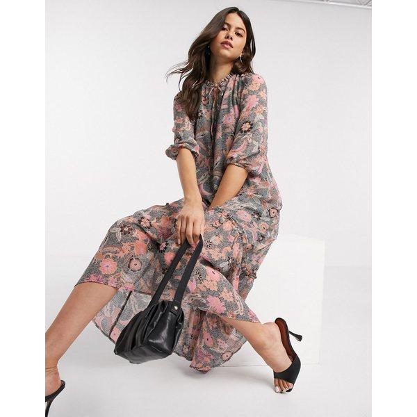 ヴェロモーダ レディース ワンピース トップス Vero Moda chiffon midi dress with tie neck in paisley floral Multi
