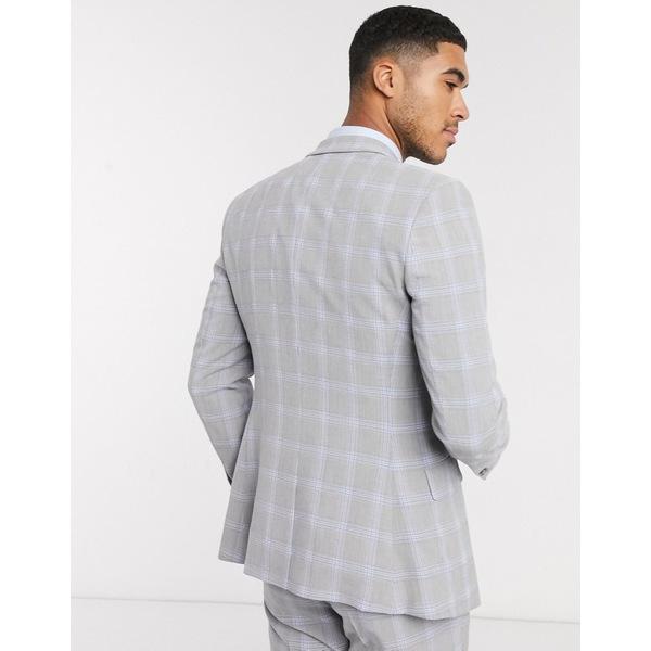suit gray ASOS エイソス アウター DESIGN blue jacket in and skinny Gray windowpane wedding check メンズ ジャケット&ブルゾン