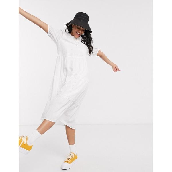 ニュールック レディース ワンピース トップス New Look broderie smock midi dress in white White