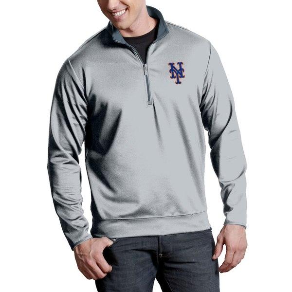 アンティグア メンズ ジャケット&ブルゾン アウター New York Mets Antigua Leader Quarter-Zip Pullover Jacket Silver
