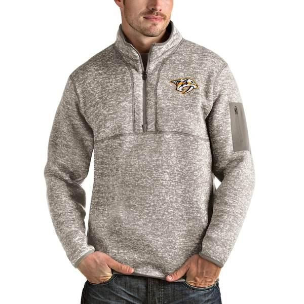 アンティグア メンズ ジャケット&ブルゾン アウター Nashville Predators Antigua Fortune Half-Zip Pullover Jacket Oatmeal