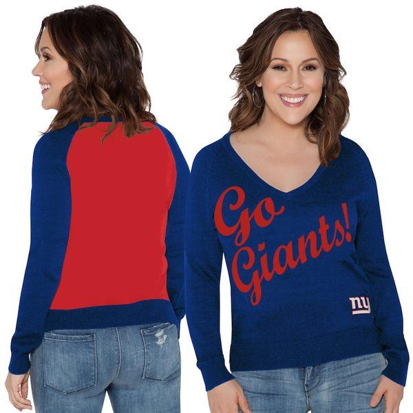 アリッサミラノ レディース シャツ トップス New York Giants Touch by Alyssa Milano Women's Plus Size MVP V-Neck Pullover Sweater Royal