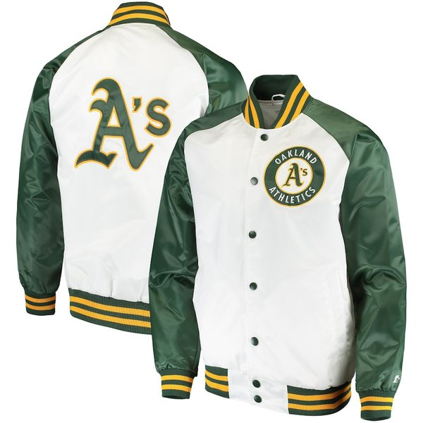 スターター メンズ ジャケット&ブルゾン アウター Oakland Athletics Starter Clean-Up Hitter Full-Snap Jacket White/Green