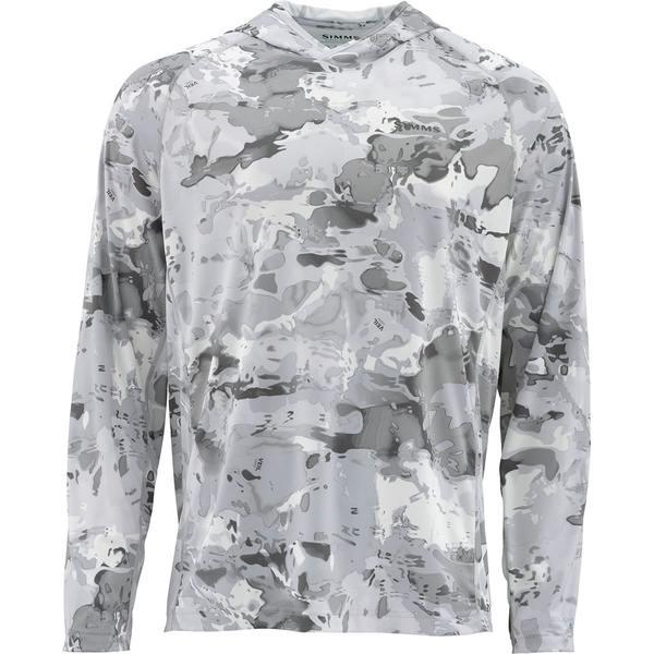 シムズ メンズ シャツ トップス Solarflex Hooded Print Shirt - Men's Cloud Camo Grey