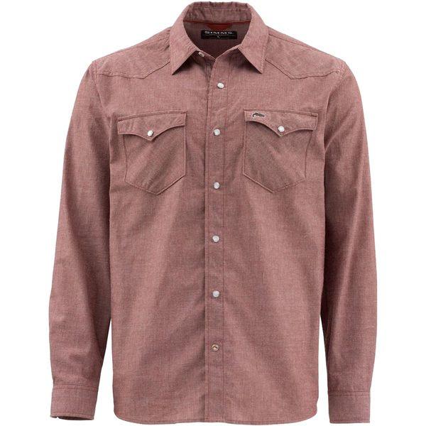 シムズ メンズ シャツ トップス No-Tellum Long-Sleeve Shirt - Men's Rusty Red Chambray