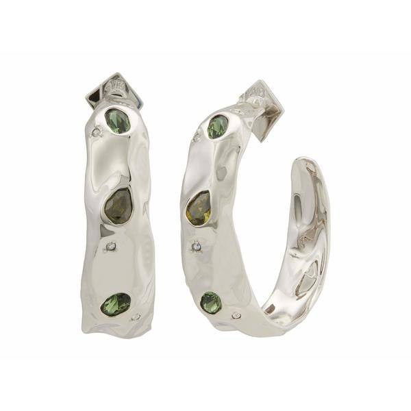 アレクシス ビッター レディース ピアス&イヤリング アクセサリー Stone Studded Crumpled Hoop Earrings Rhodium