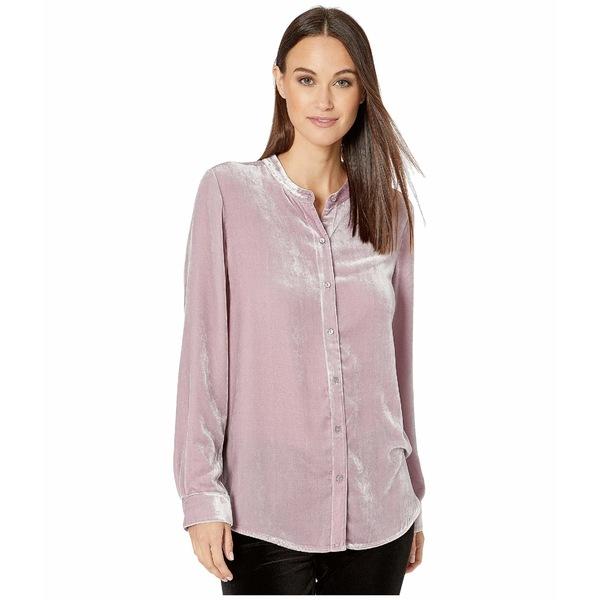 エイリーンフィッシャー レディース シャツ トップス Velvet Mandarin Collar Long Shirt Sachet