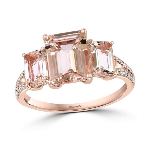 素晴らしい品質 エフィー Morganite コレクション レディース リング アクセサリー EFFY® Morganite (3-1 Three アクセサリー/6 ct. t.w.) & Diamond (1/10 ct. t.w.) Three Stone Statement Ring in 14k Rose Gold Morganite, テンポアップ:0c65e994 --- yatenderrao.com