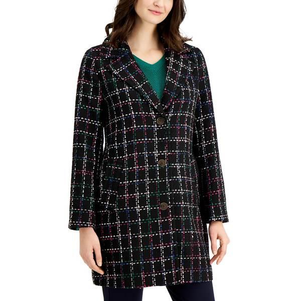 チャータークラブ レディース アウター ジャケット 新色 ブルゾン Deep Black Combo 全商品無料サイズ交換 Macy's Tweed Created Plaid Jacket for 期間限定の激安セール Petite