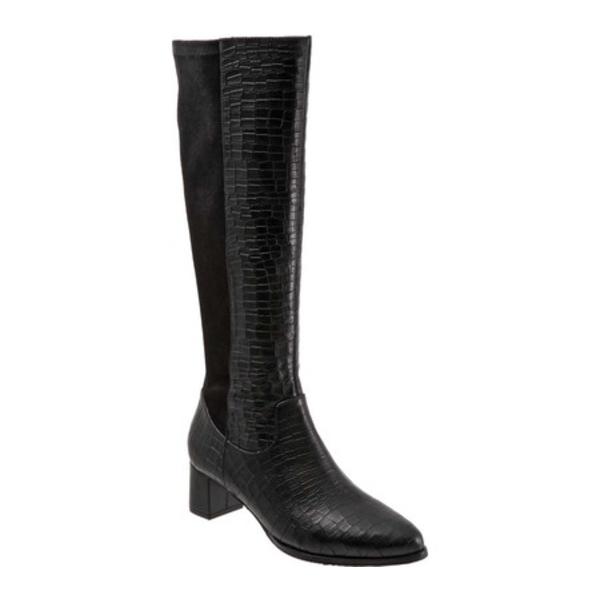 Calf レディース (Women's) トロッターズ High Leather/Polyester Kirby Black Croco Knee シューズ ブーツ&レインブーツ Wide Boot