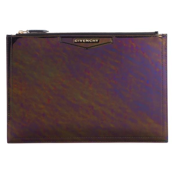 ジバンシー レディース クラッチバッグ バッグ Givenchy Antigona Oil Slick Leather Pouch Black