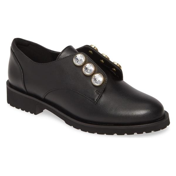 カートジェイガーロンドン レディース サンダル シューズ Kurt Geiger London Rina Crystal Embellished Derby (Women) Black Leather