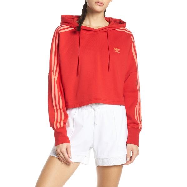 アディダスオリジナルス レディース パーカー・スウェットシャツ アウター adidas Originals Crop Hoodie Scarlet