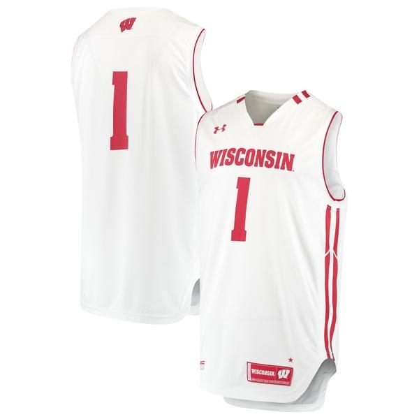 アンダーアーマー メンズ ユニフォーム トップス #1 Wisconsin Badgers Under Armour Replica Performance Basketball Jersey White