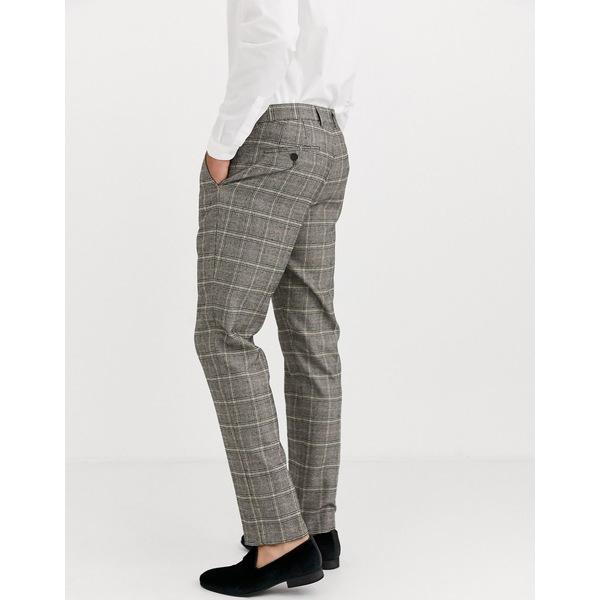 ハリー・ブラウン メンズ カジュアルパンツ ボトムス Harry Brown slim fit brown overcheck suit pants Gray