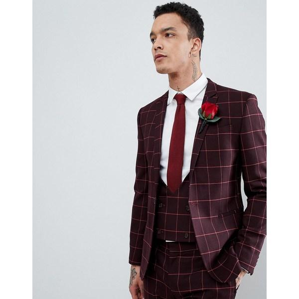 エイソス メンズ ジャケット&ブルゾン アウター ASOS DESIGN Wedding Super Skinny Suit Jacket In Wine And Orange Grid Check Burgundy