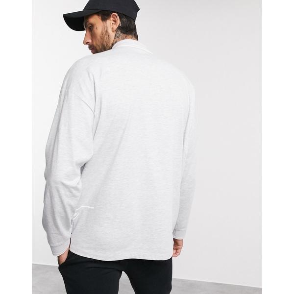 エイソス メンズ ポロシャツ トップス ASOS DESIGN x Dark Future long sleeve oversized polo with zip neck and dark future logo Gray marl
